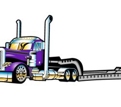 Vector Flatbed Semi Truck