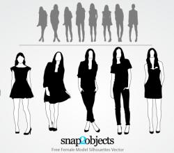 Female Model Silhouettes Free Illustrator Vectors Pack