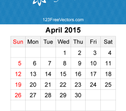April 2015 Calendar Template Vector Free