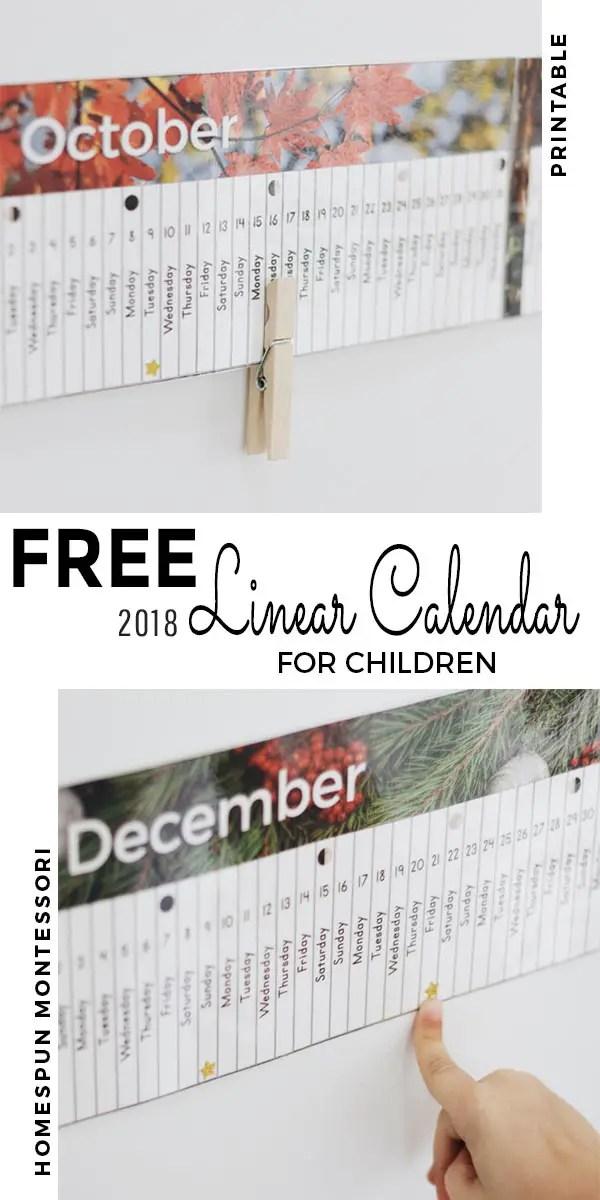 free printable 2018 linear calendar
