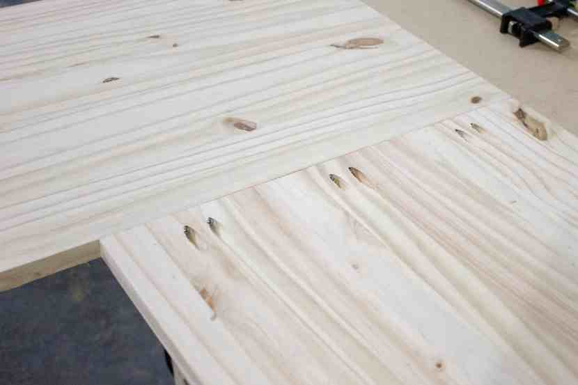 Use a Kreg Jig to join the two pine project panels together