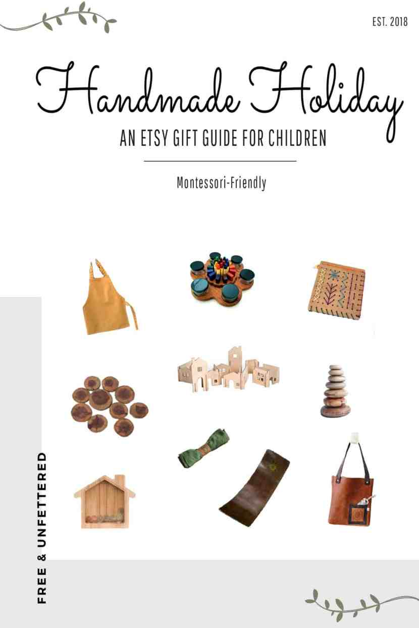 montessori-friendly gift guide to toys for children this holiday season, available on etsy