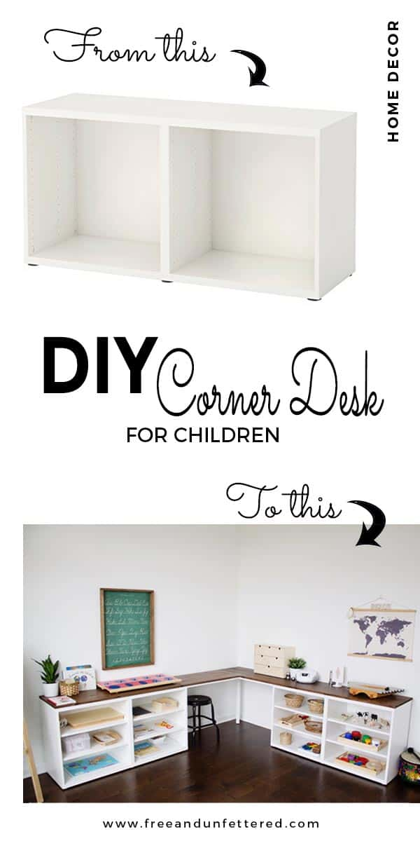 how to create a corner desktop for kids using IKEA Besta frames