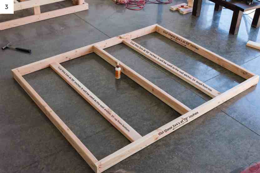 """Attaching (2) 2x4's at 78"""" to (2) 2x4's at 59"""" creates another 78"""" x 61"""" frame. We added two additional 2x4's cut at 59"""" to serve as wall anchors and another (1) 2x4 cut at 59"""" inches to provide additional structural support."""