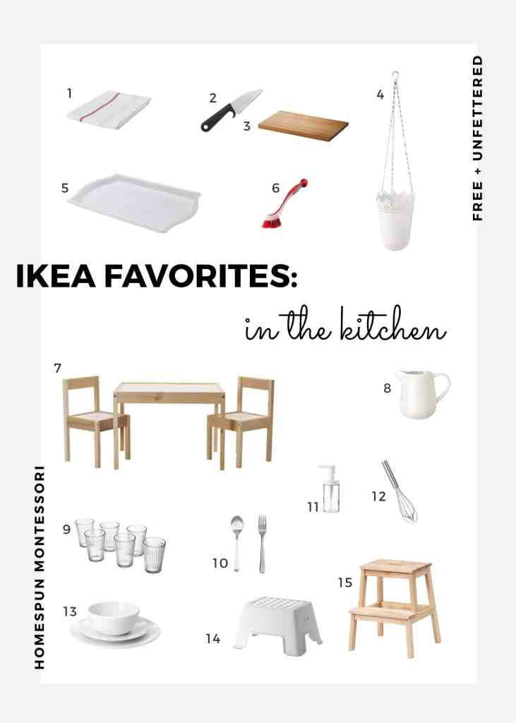 a curated list of our favorite ikea products used in our montessori-inspired kitchen for kids