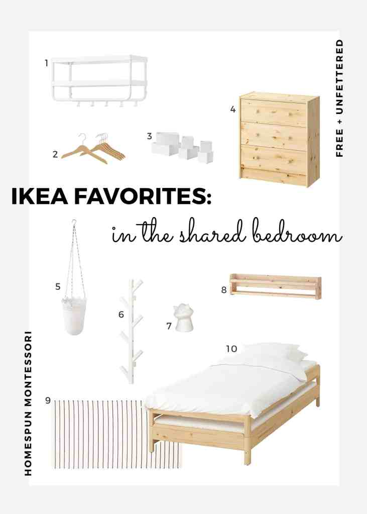 a curated list of our favorite IKEA products that are great in a small shared kids bedroom