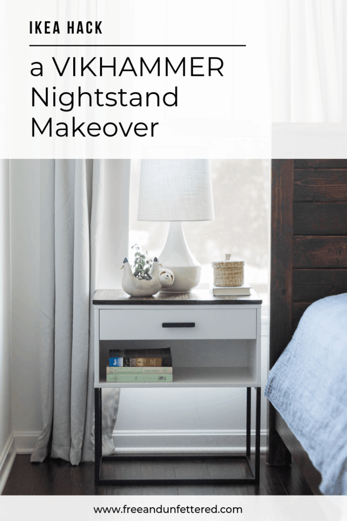 Looking for a modern farmhouse-inspired nightstand? No worries! With just a piece of wood, some spray paint, and a drawer pull, you can easily transform IKEA's VIKHAMMER nightstand to fit your style. Visit www.freeandunfettered.com to learn more.