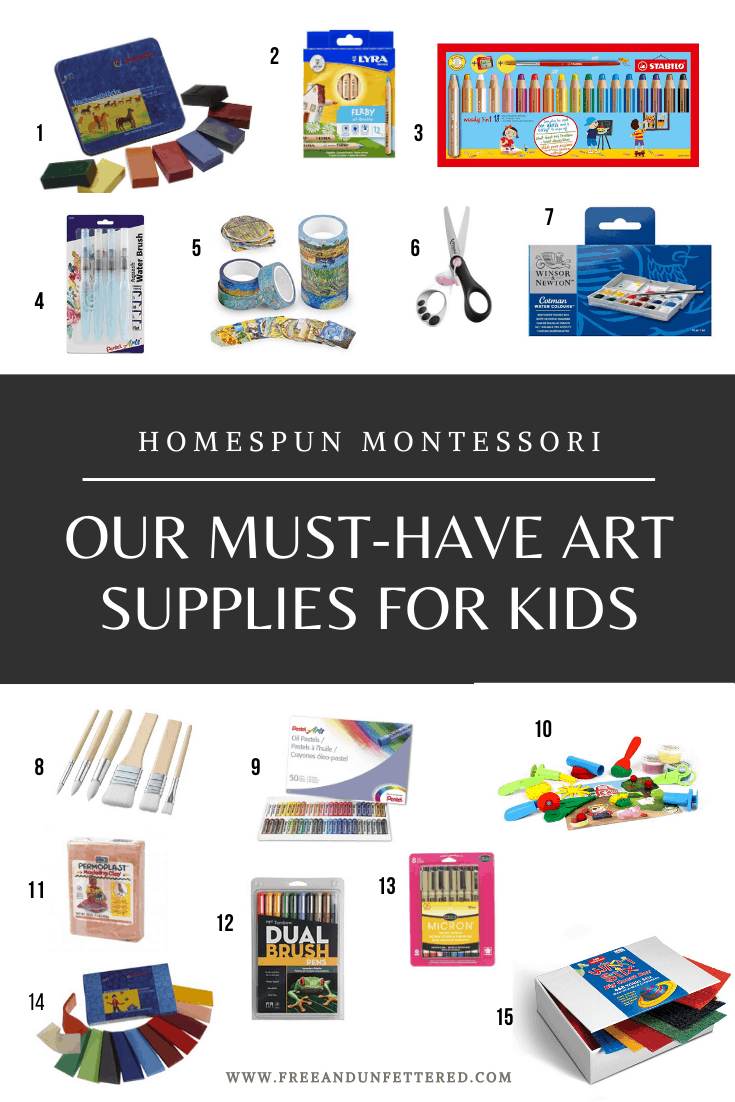 Are you looking for the best art supplies and materials to offer your children? Visit www.freeandunfettered.com to read about the best we've found so far! #homeeducation #artstudiowithkids #openendedplay #montessori #homeschooling #montessoriathome