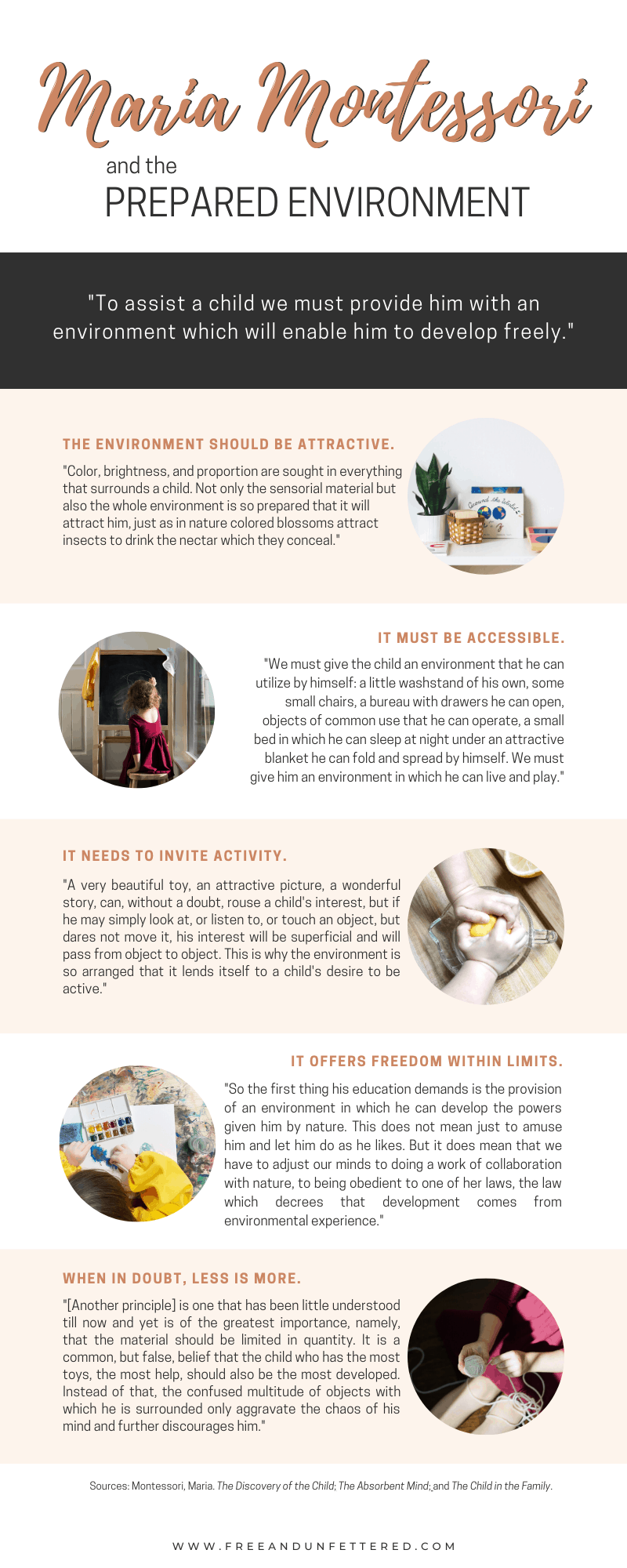 Interested in learning more about how to prepare an environment for children that fosters independent learning and exploration? Visit www.freeandunfettered.com to view our Montessori-inspired schoolroom and playroom and grab a free copy of our guide to Designing Spaces with Children. #montessoriathome #preparedenvironment #kidsroom #childledlearning