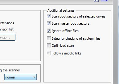 Many options that should be default optimized scan or integrity checking