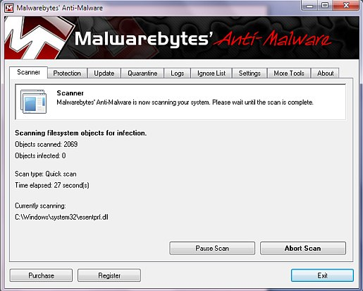 virus scan in progress malwarebytes