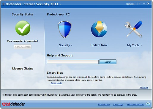 Bitdefender 2011 main interface