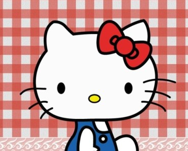 Hello Kitty With Plaid Fabric Background