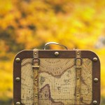 Vintage Suitcase with Treasure Map