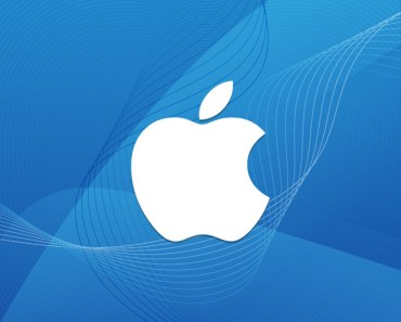 White Apple Logo With Blue Wave Background
