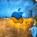 Apple Logo On The Colorful Grunge Wall