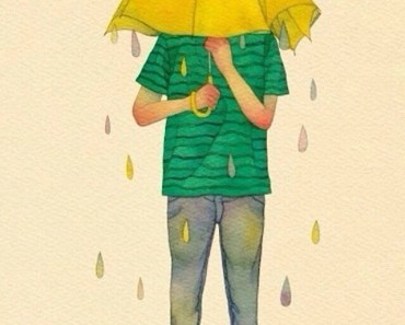 Boy Covered By The Umbrella
