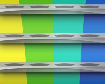 White Shelves with Colored Background