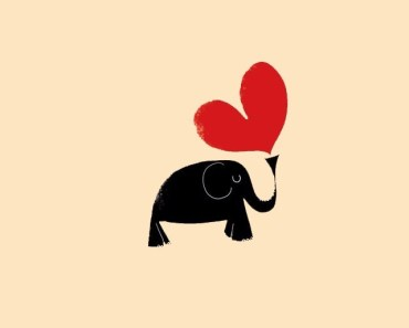 Hand Painted Elephant and Love Heart