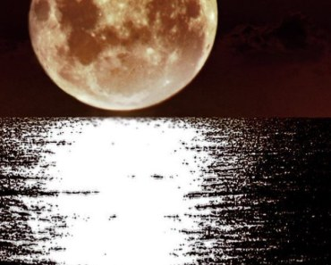Bright Super Moon Over The Sea