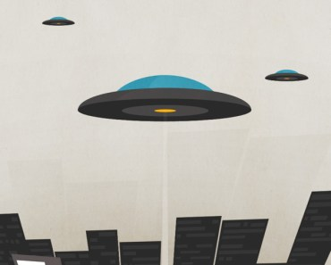 UFO Over The City Illustration