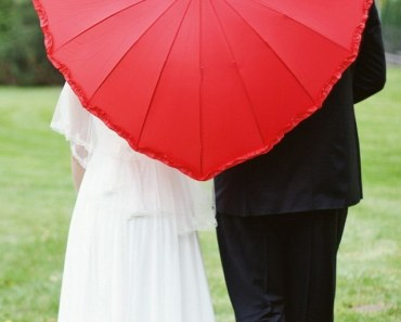 Lovers Under The Love Heart Umbrella