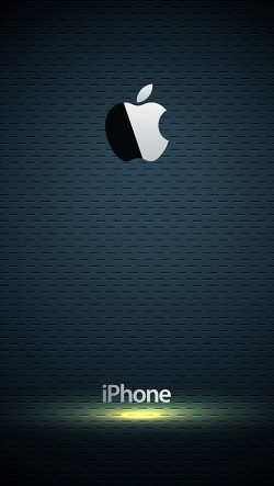 Glossy Apple Logo with Blue Background