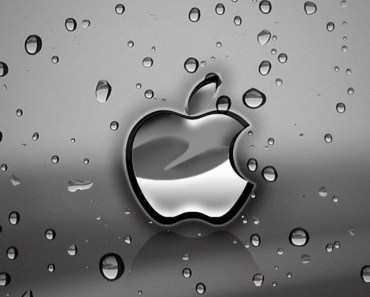 Silver Apple Logo With Water Drops Background