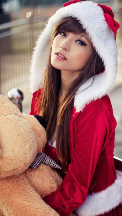 Cute Asian Christmas Girl