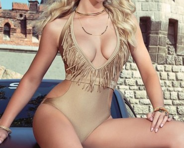Long Hair Blonde Gold Swimsuit