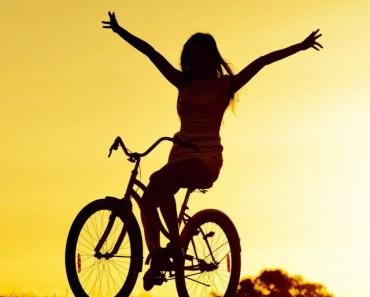 Girl Bicycle Sunset