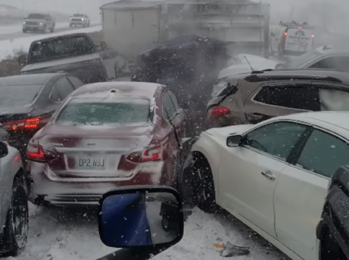 Shocking Footage From A Trucker In The Middle Of A 47-Car Pileup