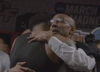 UCF Coach Johnny Dawkins Comforts Team After Heartbreaking Tournament Loss