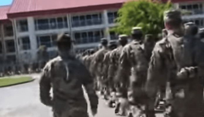 Free Beer and Hot Wings Drill Sergeant Makes Soldiers March To Baby Shark
