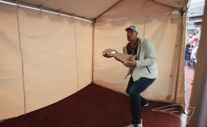 Pats Party King, Gronk Dents Lombardi Trophy Using It As A Baseball Bat