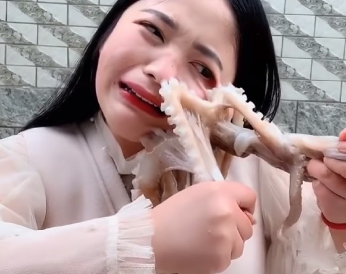 Chinese Live-Streamer Tries To Eat Octopus Alive, Until It Suctions To Her Face
