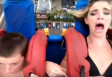 Mother And Son Freak Out On Beach Slingshot Ride