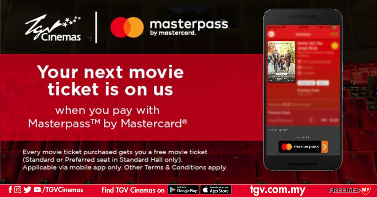 FREE TGV movie ticket when you purchase via Masterpass