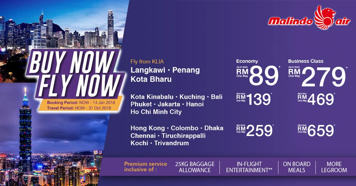 Malindo Air promotion 2018 - Fly with FREE luggage