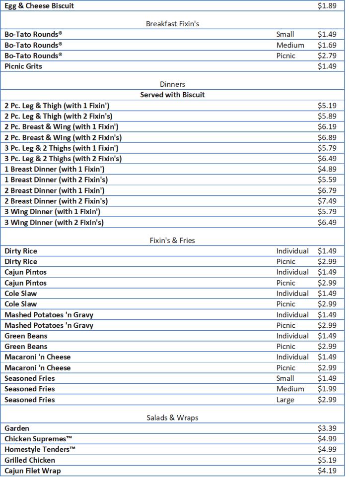 bojangles menu with prices