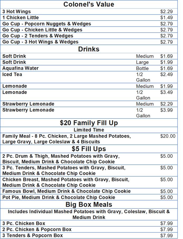 kfc menu and prices