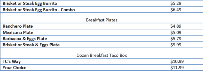 taco cabana menu prices