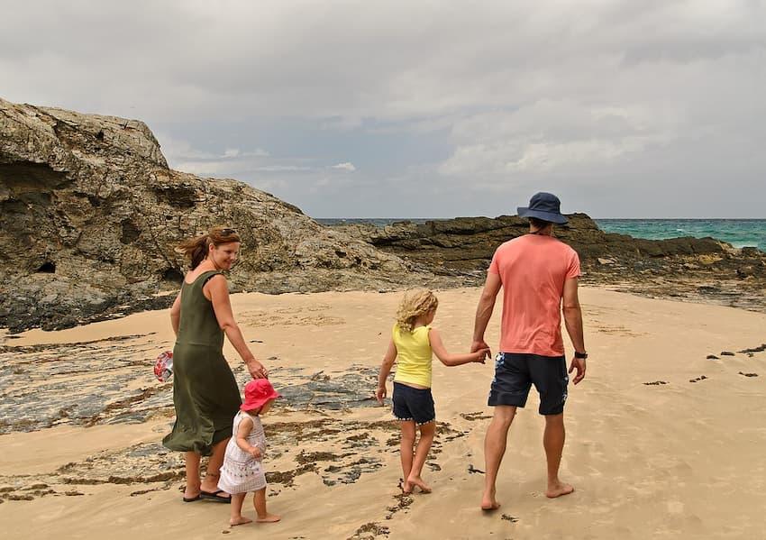 family with coast