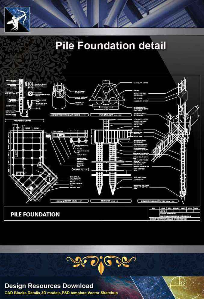 【Architecture CAD Details Collections】Pile Foundation detail