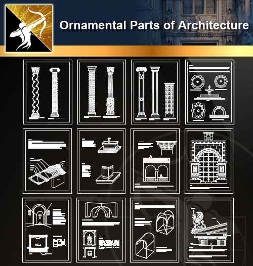★【Ornamental Parts of Architecture -Decoration Element CAD Blocks  V 1】@Autocad Decoration Blocks,Drawings,CAD Details,Elevation