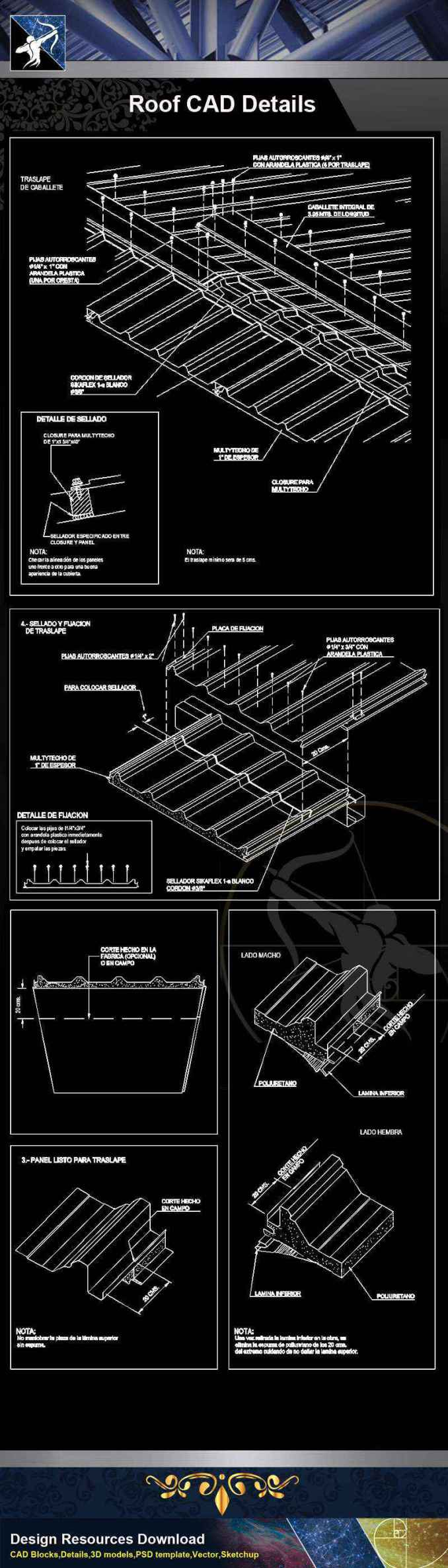 【Architecture CAD Details Collections】Roof CAD Details V.1