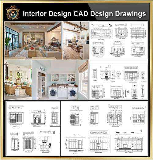 ★【Interior Design CAD Design,Details,Elevation Collection】Residential  Building,Living room,Bedroom,Restroom,Decoration@Autocad  Blocks,Drawings,CAD ...