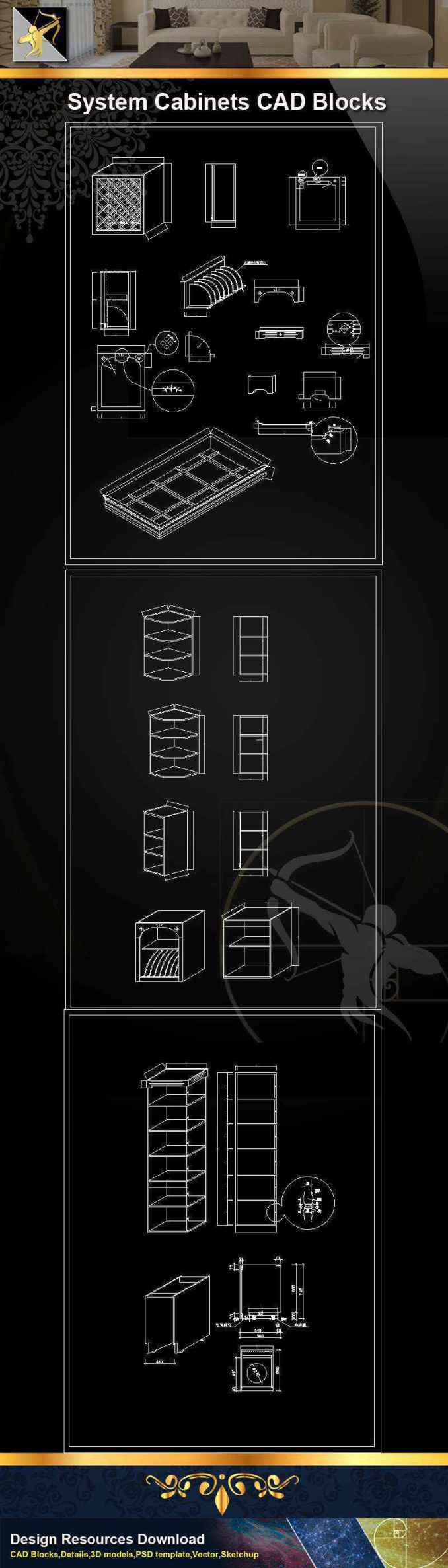 ★【 System Cabinets CAD Drawings V.3】@Autocad Blocks,Drawings,CAD Details,Elevation