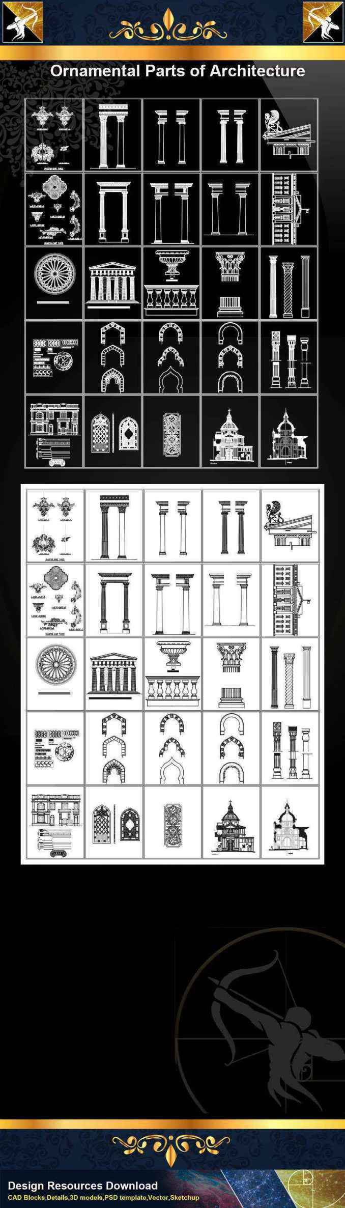 ★【Ornamental Parts of Architecture -Decoration Element CAD Blocks  V 2】@Autocad Decoration Blocks,Drawings,CAD Details,Elevation