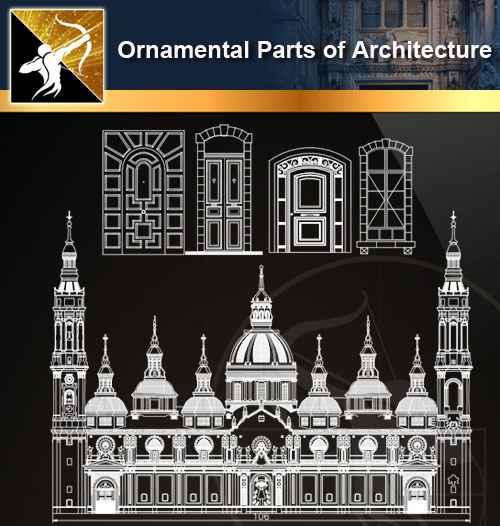 ★【Ornamental Parts of Architecture -Decoration Element CAD Blocks  V 3】@Autocad Decoration Blocks,Drawings,CAD Details,Elevation - Free CAD